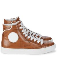 John Galliano Men's Gazette-print Leather High-top Sneakers - Brown - Size 8.5