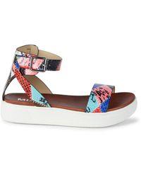 MIA Women's Ellen Printed Faux Leather Sandals - Multi Patchwork - Size 7 - Multicolour