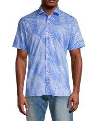 Bertigo Leaf-print Short-sleeve Cotton Shirt - Blue