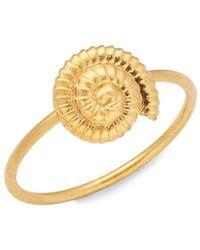 Valentino Goldtone Shell Charm Ring - Metallic