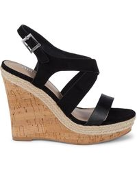 Charles David Aaliyah Cork Wedge Platform Sandals - Black
