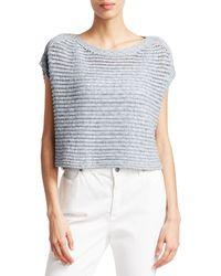 Eileen Fisher Crochet Short-sleeve Sweater - Blue
