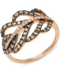 Effy 14k Rose Gold, White & Brown Diamond Cutout Ring - Multicolour