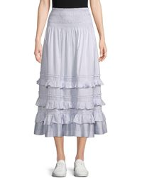 Rebecca Taylor - Ruffle-tiered Cotton A-line Skirt - Lyst