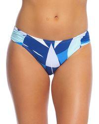 La Blanca Palm-print Hipster Swim Bottoms - Blue