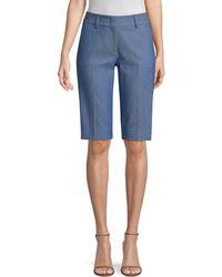 Piazza Sempione Chambray Bermuda Shorts - Blue