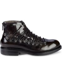 Jo Ghost Shearling-trim Leather Lace-up Boots - Black
