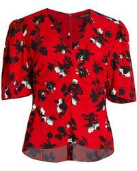 Derek Lam Ruched Floral Blouse - Red