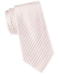 Armani Men's Striped Silk & Cotton-blend Tie - Pink