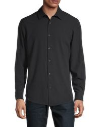 Perry Ellis Men's Long-sleeve Shirt - Bright White - Size Xl - Black