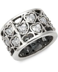King Baby Studio Sterling Silver & Crystal Heart Ring - Metallic
