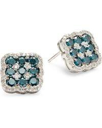Ava & Aiden 14k Rose Gold Black Jade & Diamond Circle Earrings