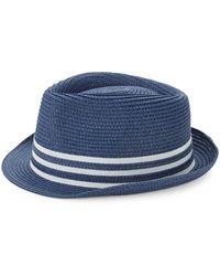 Saks Fifth Avenue Striped Patterned Fedora Hat - Blue