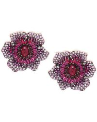 Effy - 14k Rose Gold, Ruby, Pink Sapphire & Diamond Flower Stud Earrings - Lyst