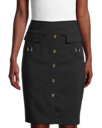 Calvin Klein Cotton-blend Pencil Skirt - Black