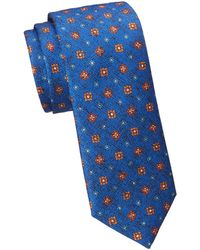 Saks Fifth Avenue Collection Textured Medallion Print Silk Tie - Blue