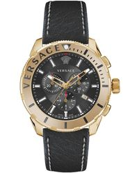 4f952594e Versace - Stainless Steel & Leather-strap Chronograph Watch - Lyst