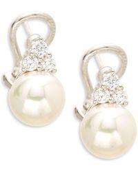 Majorica - Cubic Zirconia & Sterling Silver Earrings - Lyst