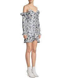 Robert Rodriguez Carmen Ruched Cold-shoulder Mini Dress - Multicolour