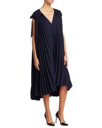 Tre by Natalie Ratabesi Victoria Plisse V-neck Shift Dress - Blue