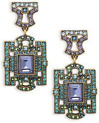 Heidi Daus Deco Windowpane Drop Earrings - Multicolor