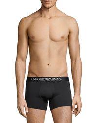 Emporio Armani Stretch Cotton Boxer Briefs - Black