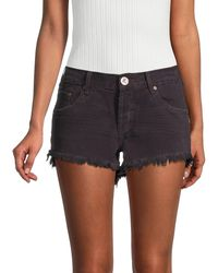 One Teaspoon Bonitas Low-rise Fringe Hem Denim Shorts - Black