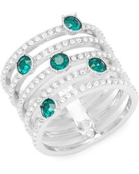 Swarovski - Emerald And Crystal Midi Ring - Lyst