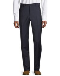 Zanella Men's Flat-front Wool Trousers - Blue - Size 34