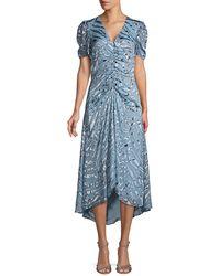 Parker Shelley Illusion Tiger-stripe Stretch Silk Dress - Blue
