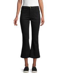 FRAME Le Bardot Cropped Flare Trousers - Black