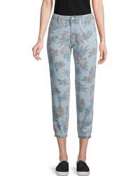 Mother The No Zip Misfit Floral Crop Jeans - Blue