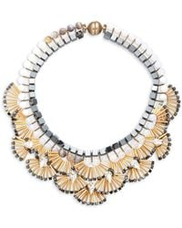 Tataborello - Beads & Crystal-studded Fan Necklace - Lyst