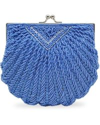 La Regale Iconic Beaded Shell Convertible Clutch - Blue
