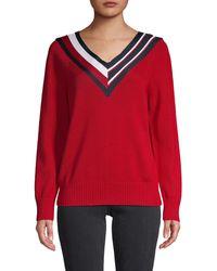 Tommy Hilfiger Striped Tape V-neck Pullover - Red