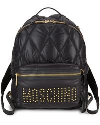 Moschino Studded Logo Quilted Backpack - Black