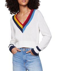 BCBGeneration V-neck Cotton Cropped Sweater - White