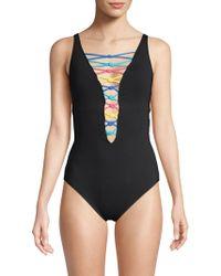 Bleu Rod Beattie Lace-up Front One-piece Swimsuit
