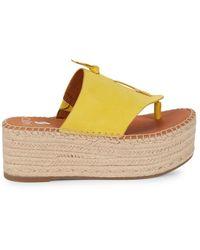 Sarto Women's Malia Suede Platform Sandals - Yellow - Size 9.5