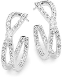 Adriana Orsini - Crystal Intertwine Hoop Earrings - Lyst