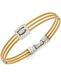 Alor - 18k Yellow Gold And Stainless Steel Diamond Bracelet - Lyst