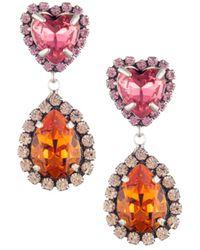 DANNIJO Women's Kate Embellished Heart Teardrop Earrings - Pink Orange - Multicolor
