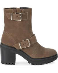 Kenneth Cole Women's Ronnie Suede Heeled Boots - Dark Taupe - Size 5 - Brown