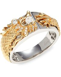 Effy 14k Two-tone Gold & Diamond Dragon Ring - Metallic