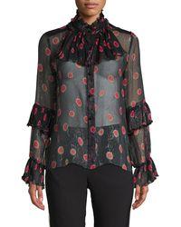 Anna Sui Pleated Pop Bouquet Blouse - Black