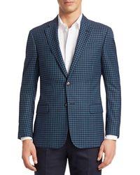 Giorgio Armani Men's Check Sportcoat - Navy - Size 52 (42) R - Blue