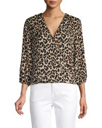 Ava & Aiden Leopard-print Twist-front Top - Black
