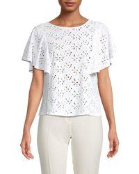 Nanette Lepore - Women's Flutter-sleeve Eyelet Top - White - Size Xs - Lyst