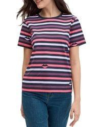 Kate Spade Women's Striped Lip-print T-shirt - Nightcap - Size S - Multicolor