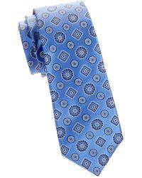 Kiton Floral Silk Tie - Blue